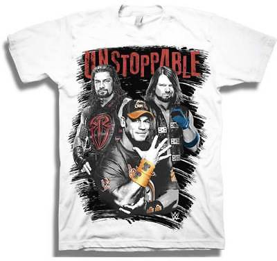 Cena Reigns Styles Unstoppable WWE Mens White T-shirt
