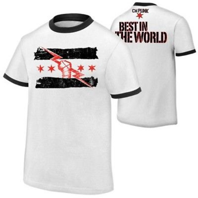 CM PUNK Best In The World Mens White Ringer T-shirt