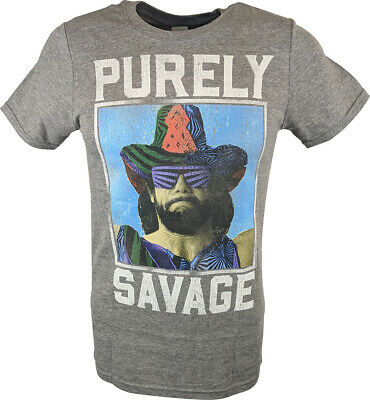 Macho Man Purely Savage Mens Grey T-shirt