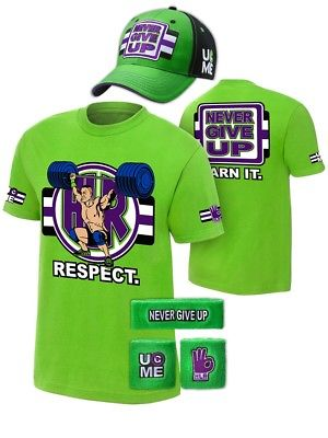John Cena Cenation Respect Green Boys Kids Costume Hat T-shirt Wristbands