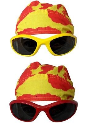 Tie Dye Bandana Skull Cap Doo Rag Sunglasses Mens Costume for Hulk Hogan
