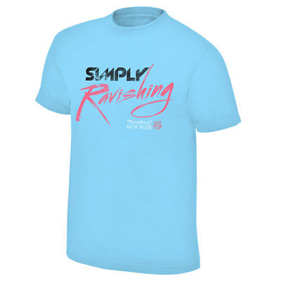 Simply Ravishing Rick Rude WWE Mens Light Blue T-shirt