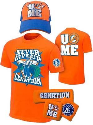 John Cena Orange Mens Costume Hat T-shirt Wristbands