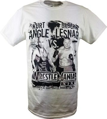 WrestleMania 19 XIX WWE Kurt Angle vs Brock Lesnar Mens White T-shirt