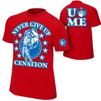John Cena Boys Red Cenation Kids WWE Costume T-shirt Wristbands