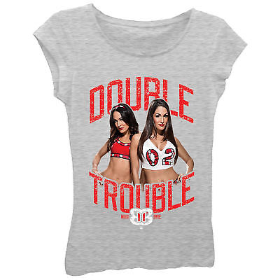 Nikki Brie Bella Twins Double Trouble WWE Girls Kids T-Shirt
