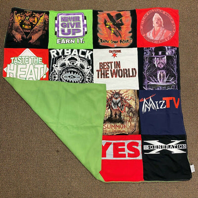 Assorted WWE Superstars 16 panel 4'x4' t-shirt boys kids lap blanket quilt