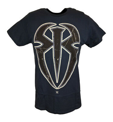 Roman Reigns Spider Logo WWE Mens Blue T-shirt