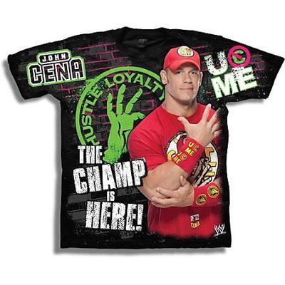 John Cena Champ Is Here WWE Red T-shirt Headband Wristbands Boys Juvy