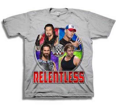WWE Cena Reigns Rollins Ambrose Relentless Boys T-shirt
