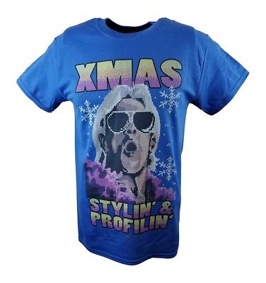 Ric Flair Xmas Stylin and Profilin WWE Mens Blue T-shirt