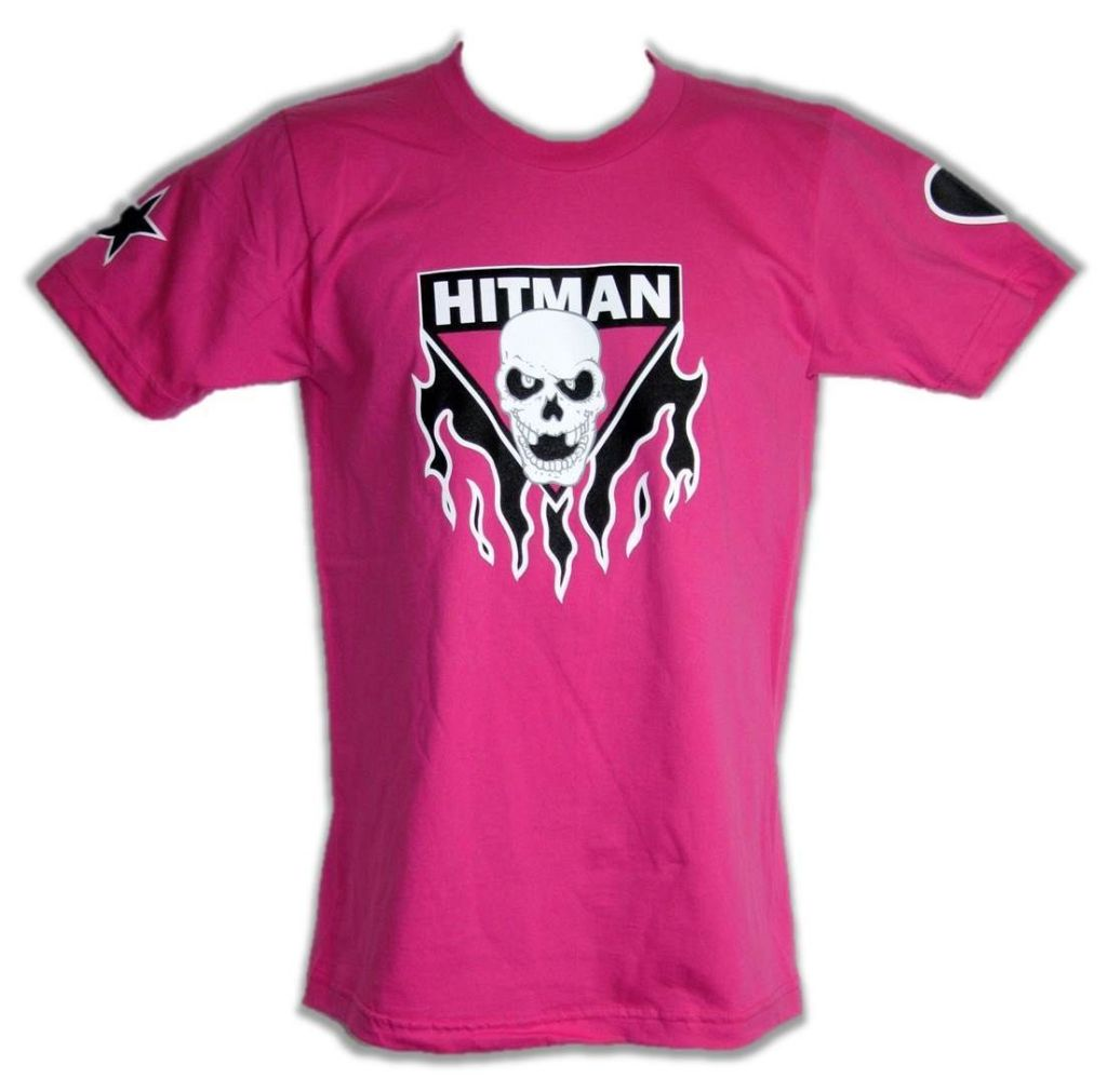 Bret Hitman Hart Pink Mens T-shirt Single Sided Print
