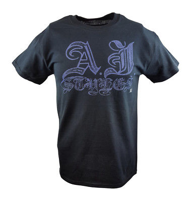 AJ Styles Signature WWE Mens Black T-shirt