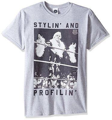 Ric Flair Stylin and Proflin Black Letters Gray Mens T-shirt