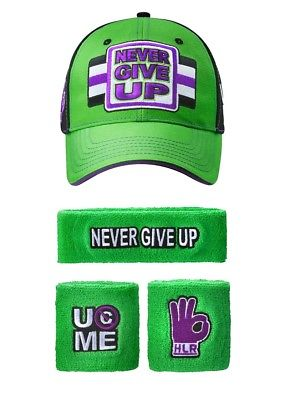 John Cena WWE Never Give Up Green Purple Baseball Hat Headband Wristband Set