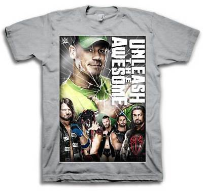 Cena Reigns Styles Unleash Awesome WWE Mens Grey T-shirt
