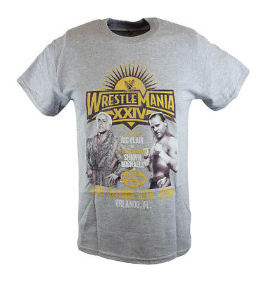 Wrestlemania 24 XXIV Ric Flair vs Shawn Michaels WWE Mens Grey T-shirt