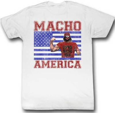 Macho Man Randy Savage America Flag Mens White T-shirt
