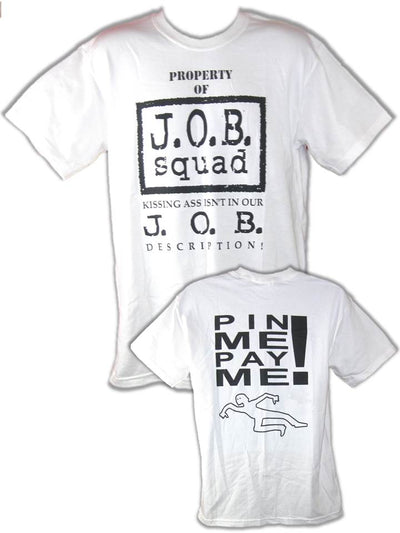 JOB Squad Pin Me Pay Me WWF T-shirt Al Snow Blue Meanie Gillberg