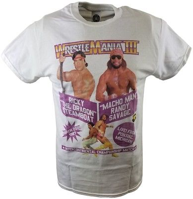 Wrestlemania 3 Ricky Dragon Steamboat vs Macho Man Randy Savage WWE Mens T-shirt
