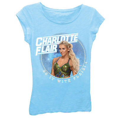 Charlotte Do It With Flair WWE Girls Kids Blue T-shirt