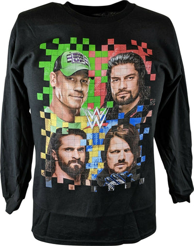 WWE Long Sleeve Boys Kids Color Grid T-shirt Cena Reigns Rollins Styles