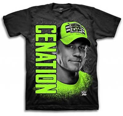 John Cena Neon Cenation WWE Kids Boys Black T-shirt