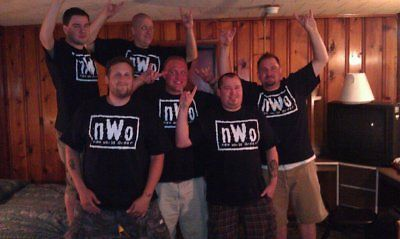 nWo White Logo New World Order Mens Black T-shirt