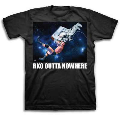 Randy Orton RKO Outta Nowhere Astronaut WWE Mens Black T-shirt