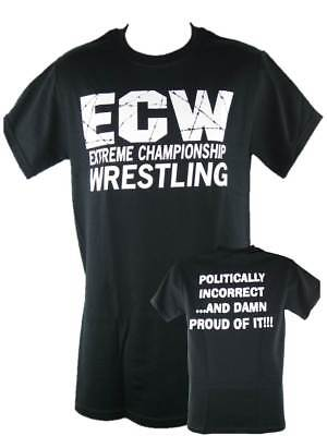 ECW Politically Incorrect Damn Proud Wrestling Black T-shirt