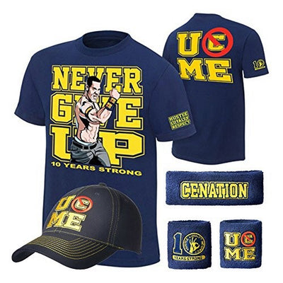 John Cena Ten Years Strong Blue Costume Hat T-shirt Wristbands
