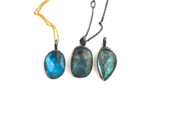 necklace / rose cut freeform labradorite pendants