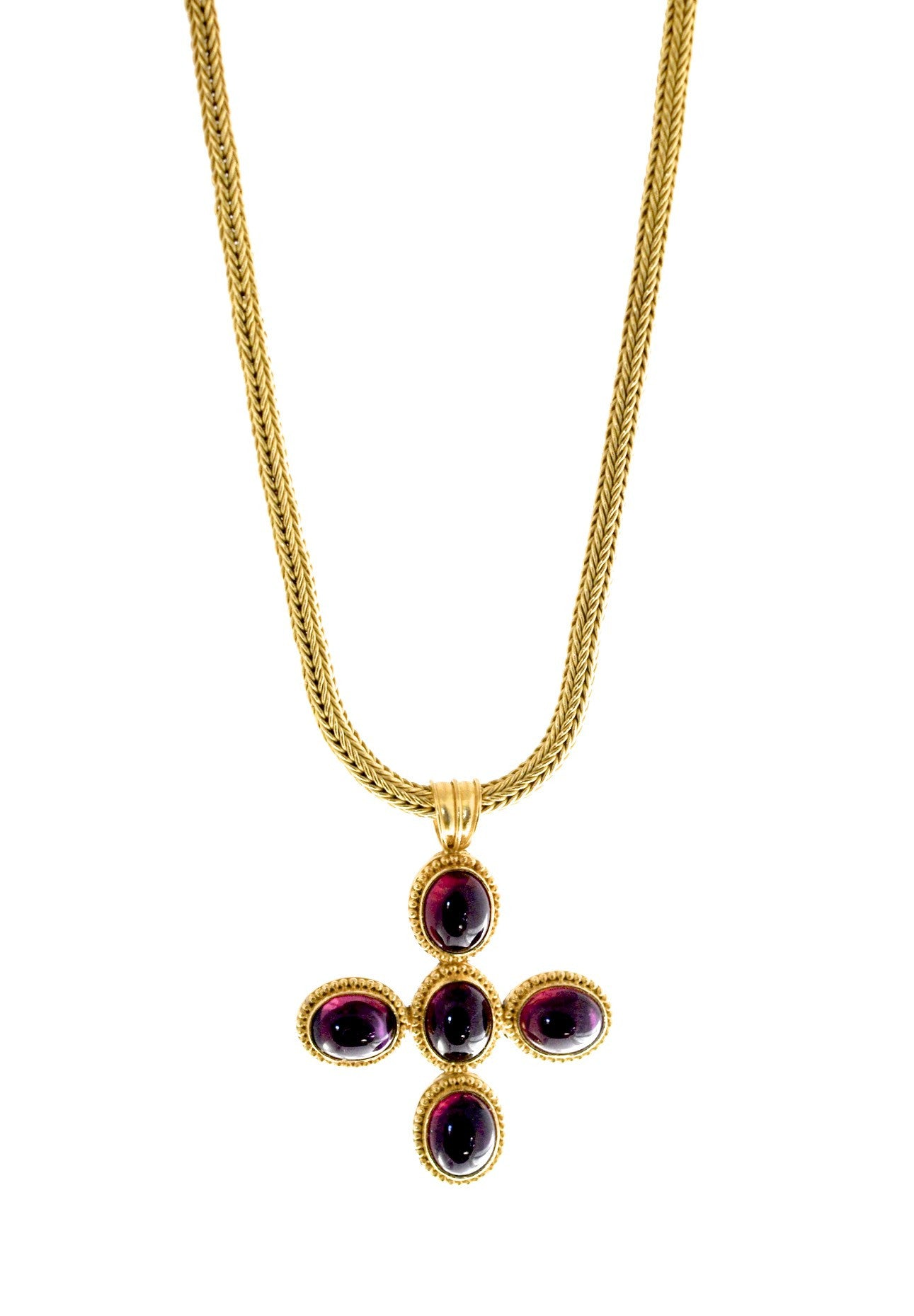 necklace  / gold 22k hand woven chain + Rhodolite cabochons pendant