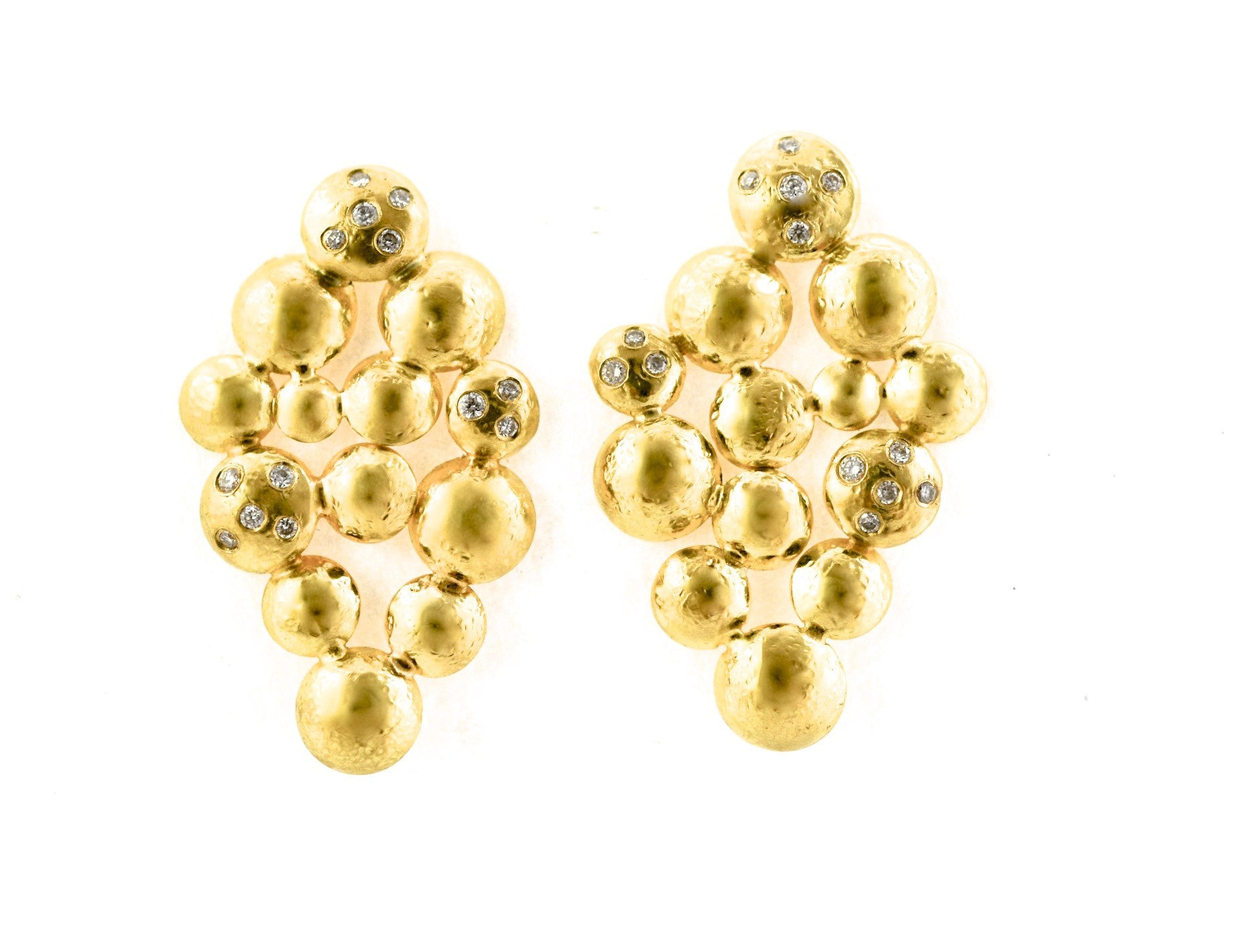 earrings / gold hammered clusters + tossed diamonds