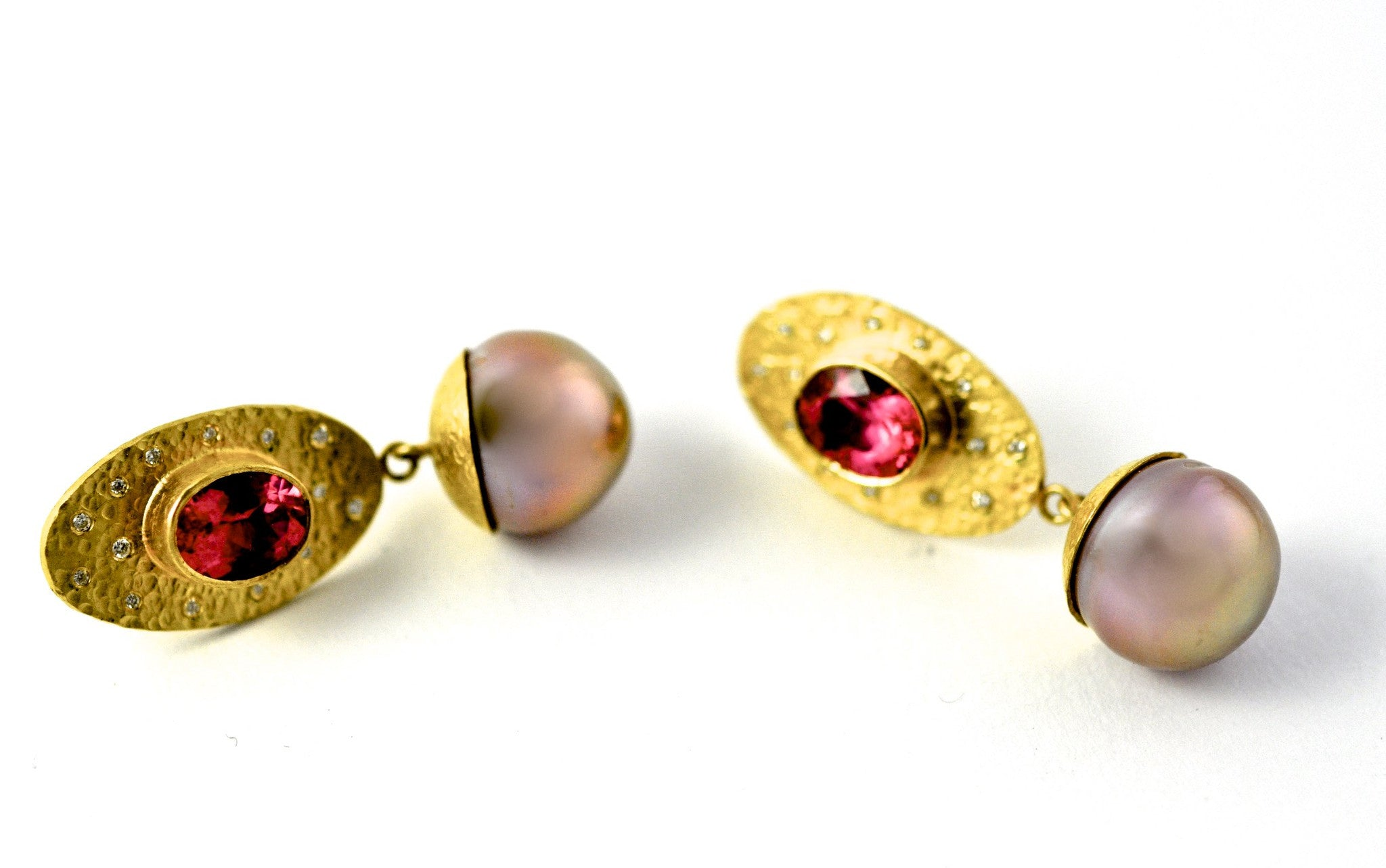 earrings / gold hammered 22k + rubelite + pearls + diamonds