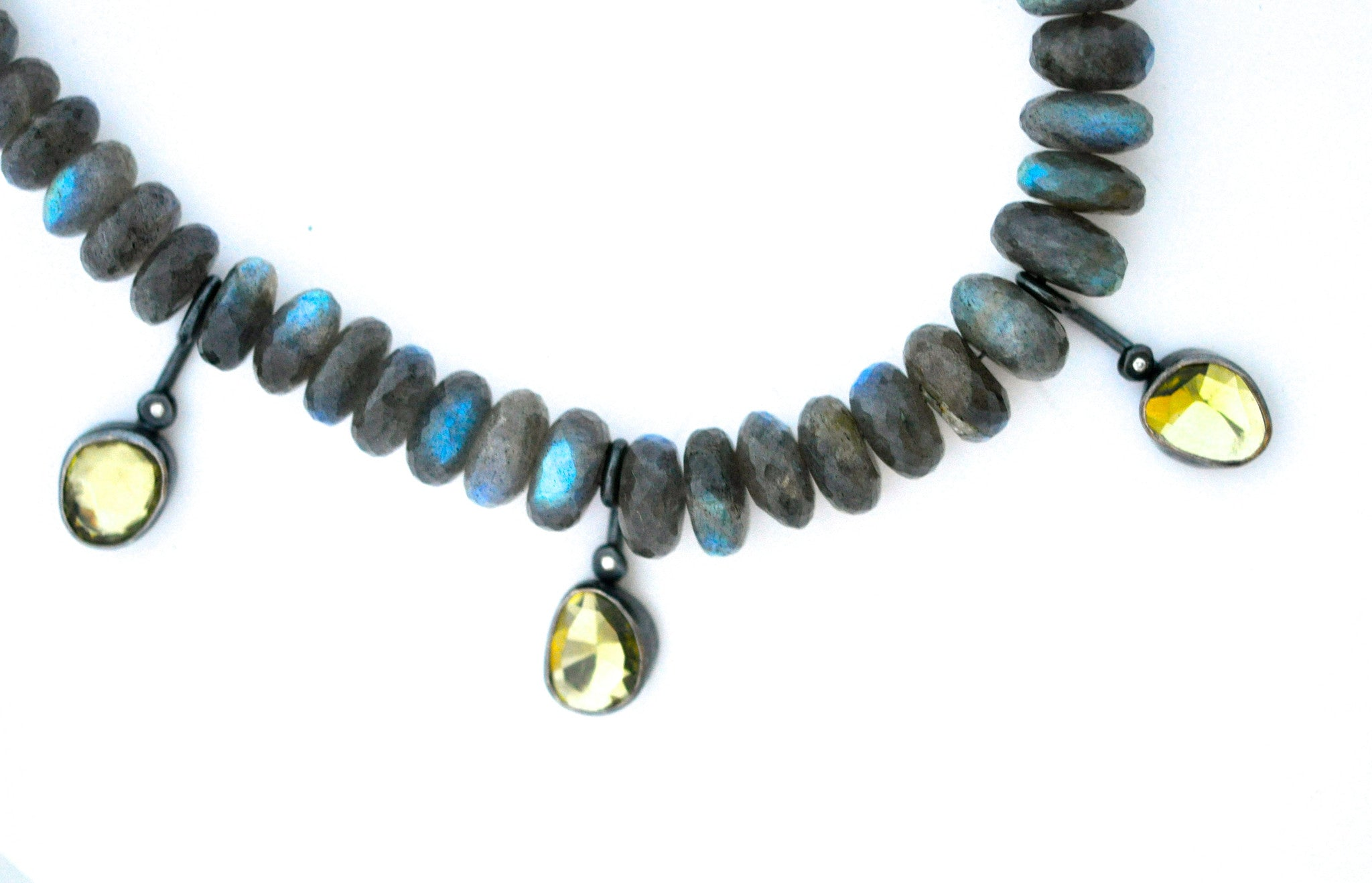 necklace / strand of labradorite with hand set rose cut citrines statement necklace