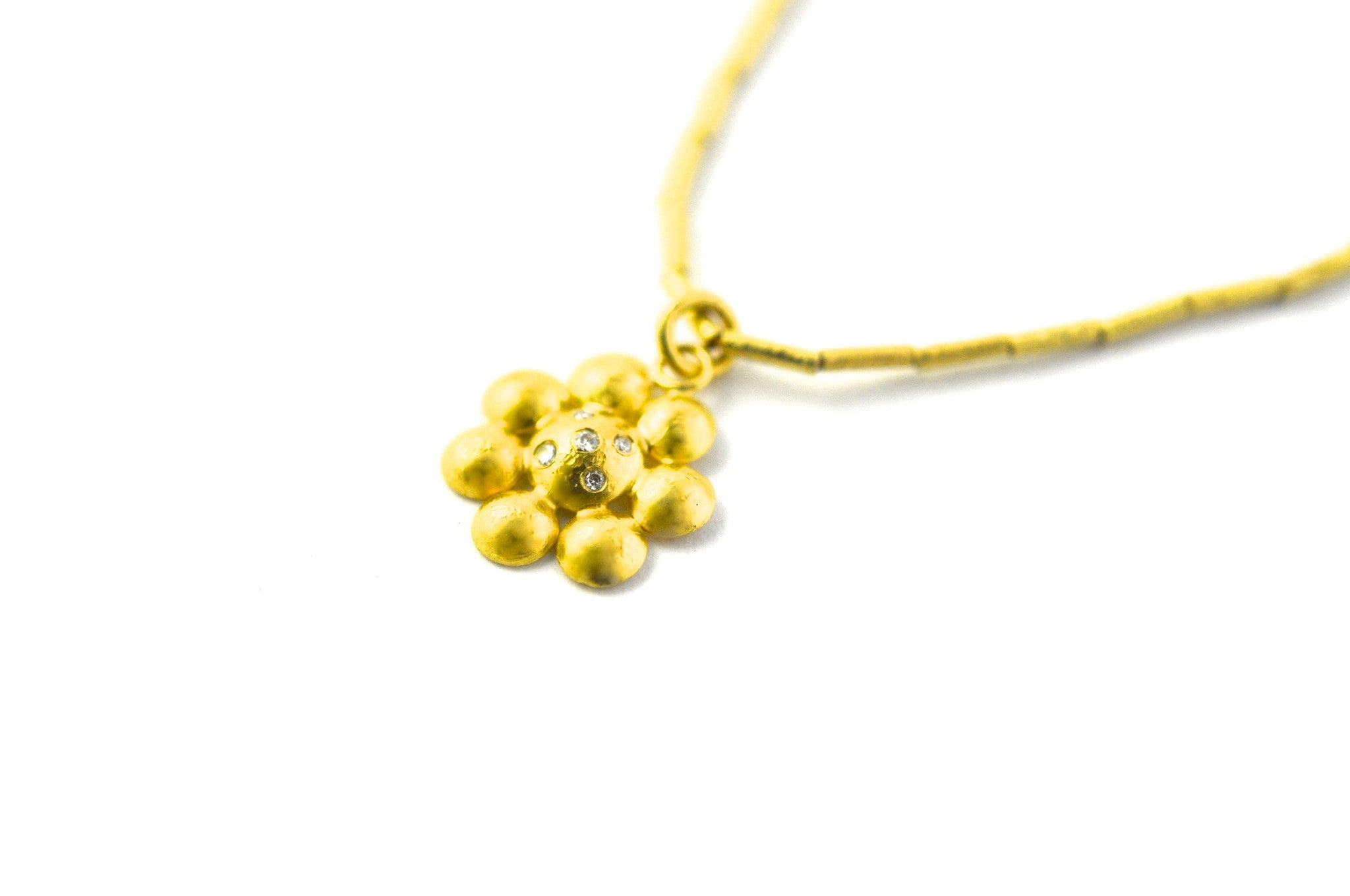 necklace  / gold 22k with diamonds rosette pendant