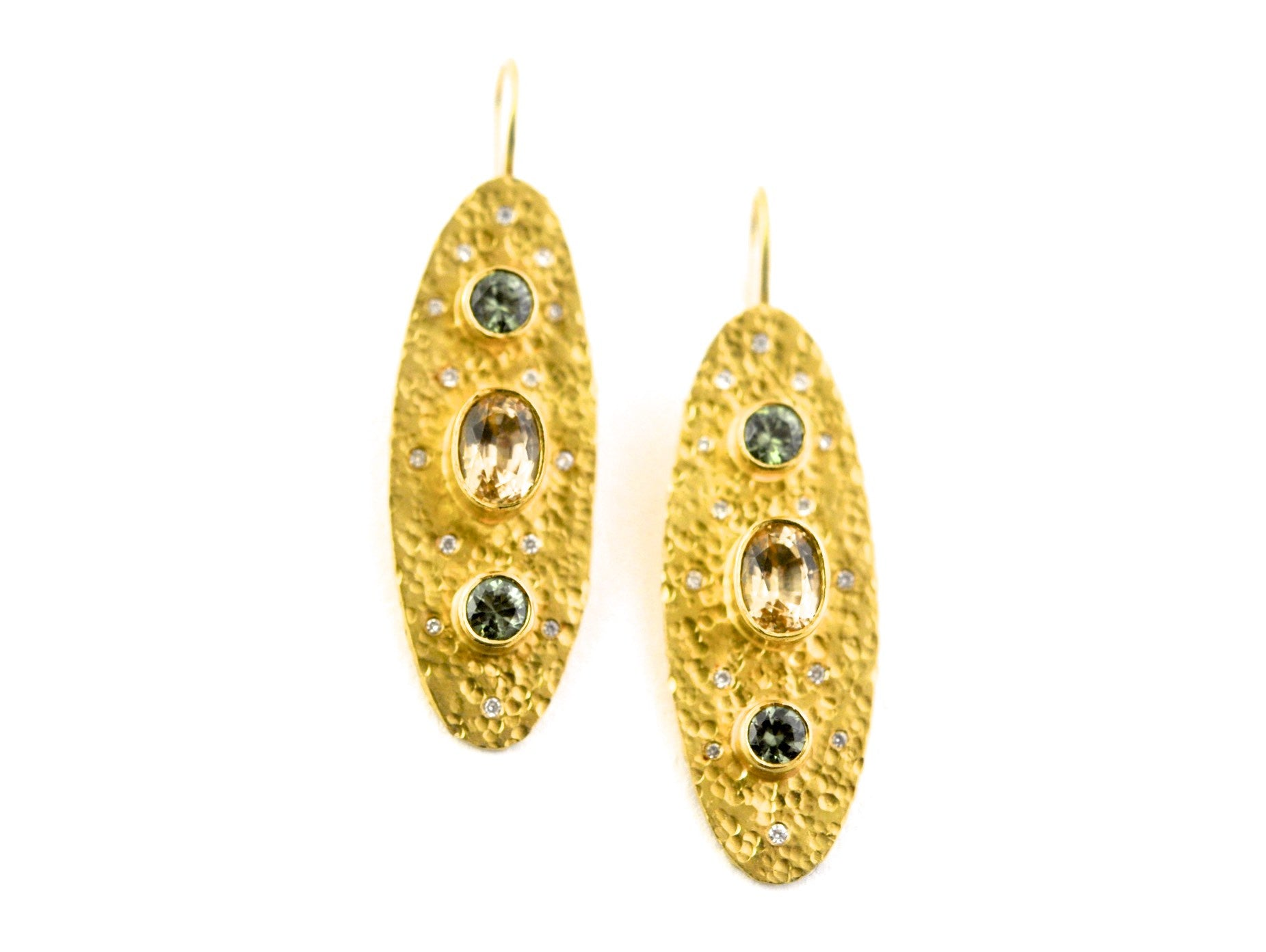 earrings / gold hammered 22k + Demantoid Garnets + Topaz + Diamonds