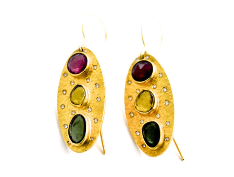 earrings / gold hammered 22k + tourmalines + diamonds