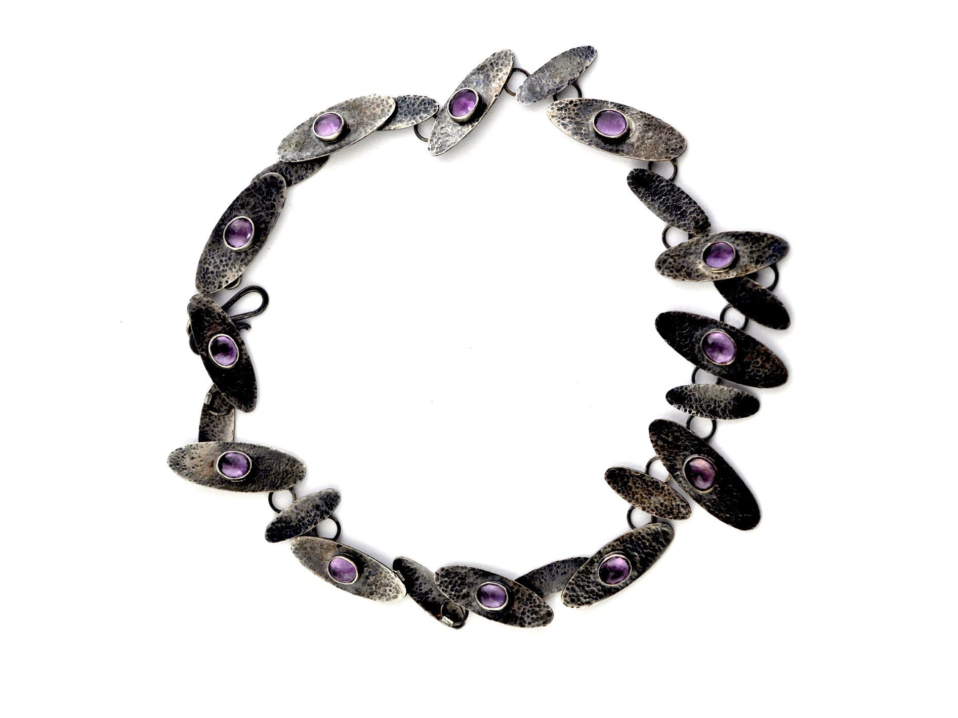 necklace  / silver  oxidized + Amethyst