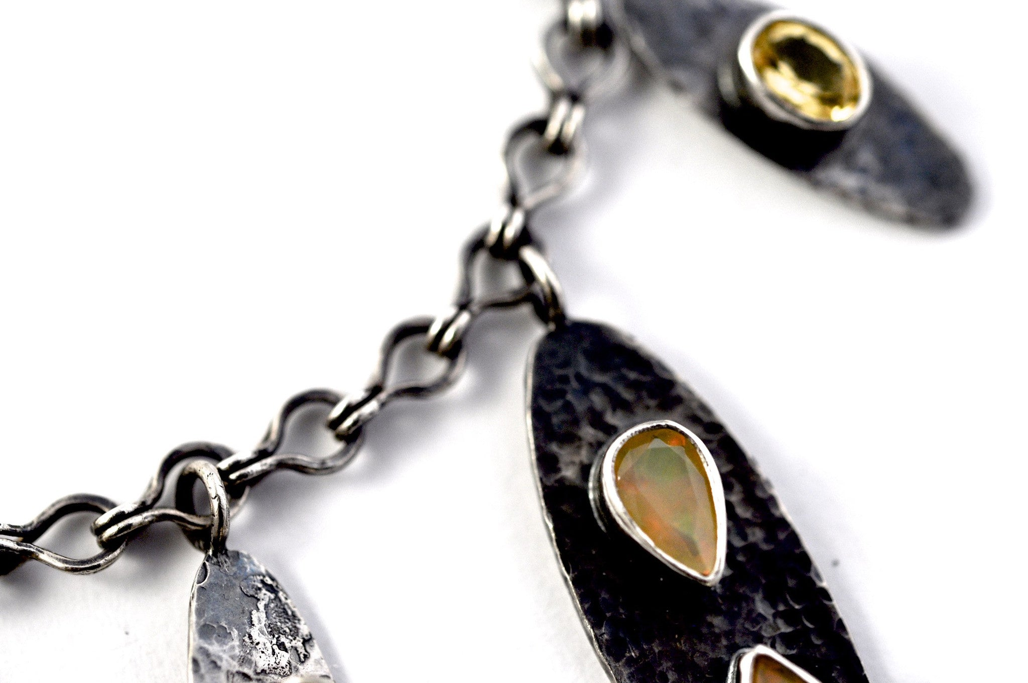 necklace  / silver  oxidized + Opals + Yellow Beryl