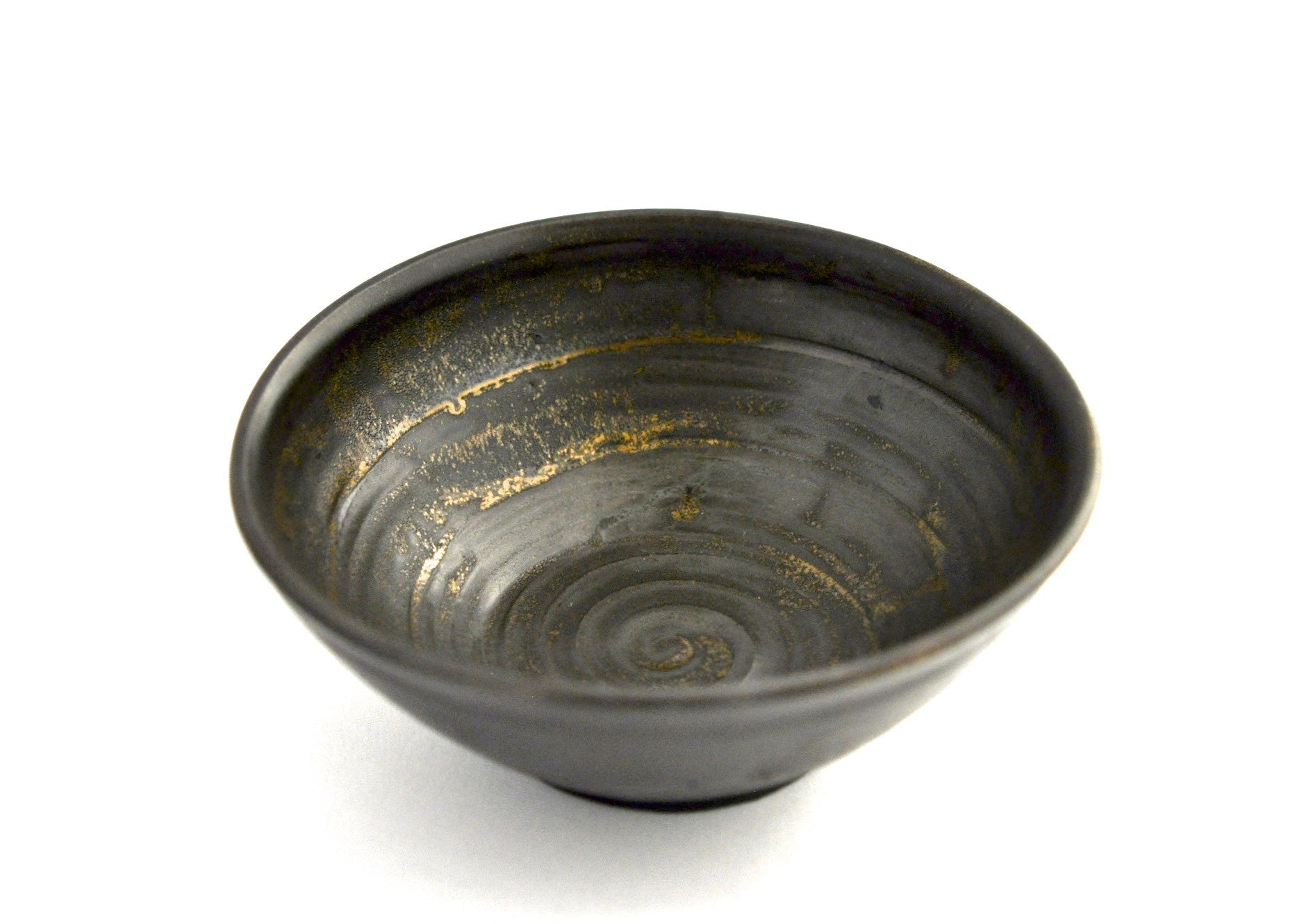 table / bowl black & gold speckle patina