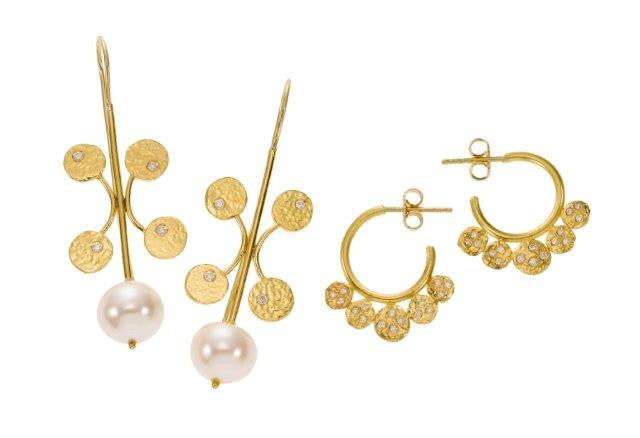 earrings / gold hammered 22k discs + diamonds + pearls