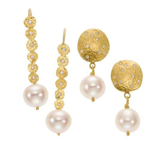 earrings / gold hammered + diamonds + pearl drops