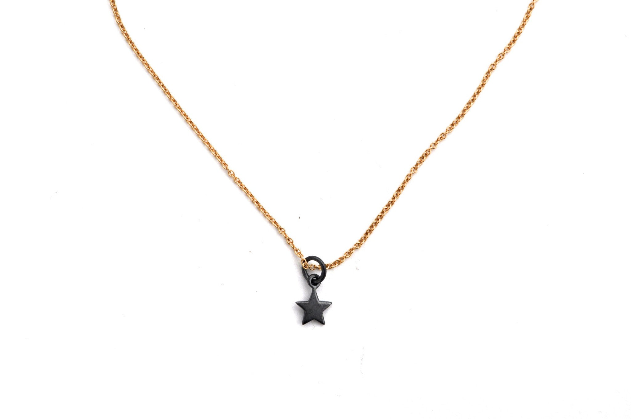 necklace / silver tiny brass STAR charm