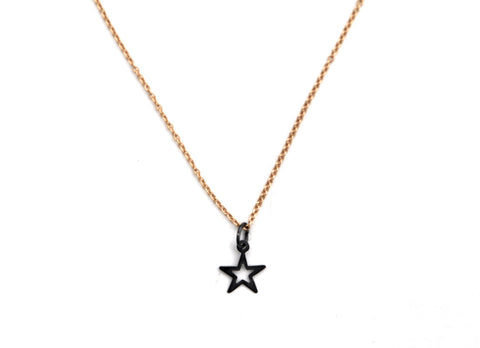 necklace / silver tiny OPEN STAR charm + gold filled fine chain