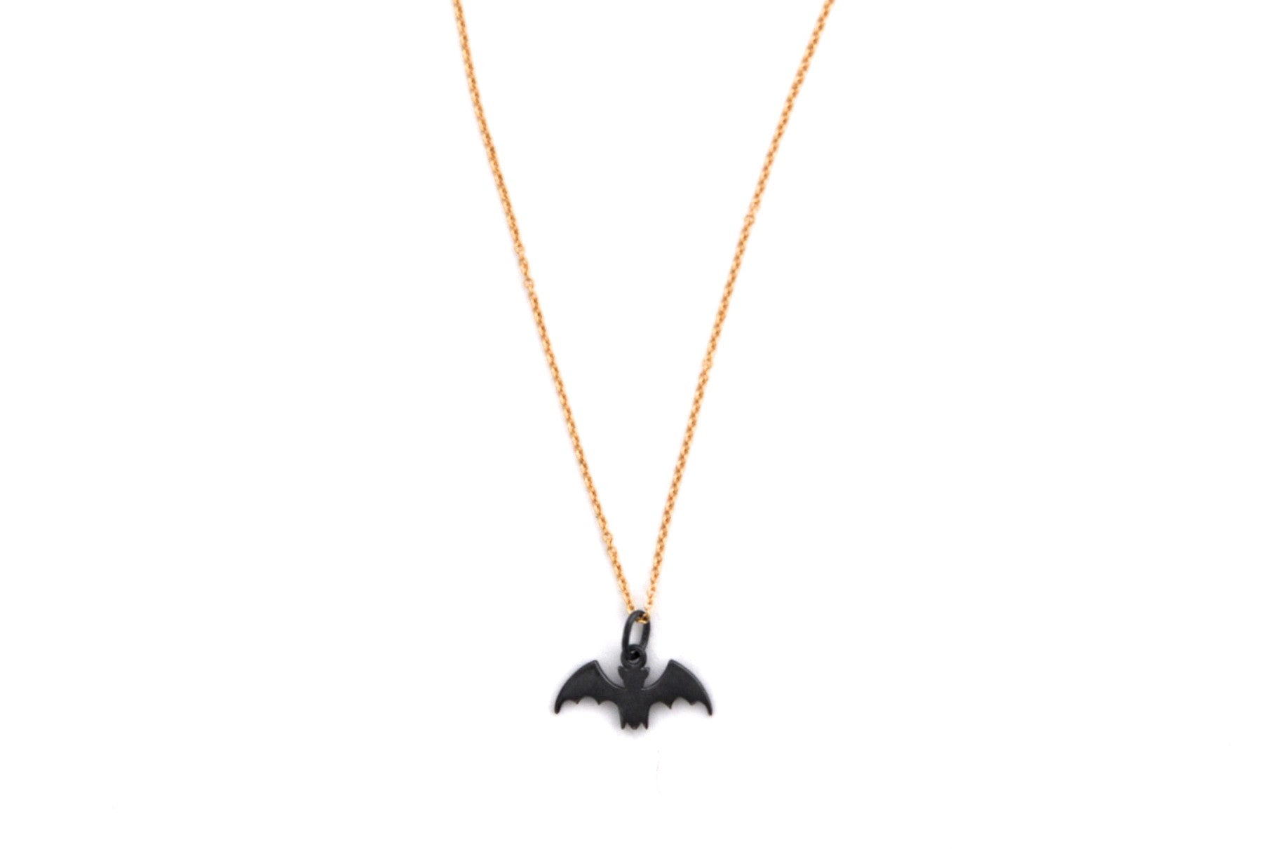 necklace / silver tiny BAT charm on fine chain