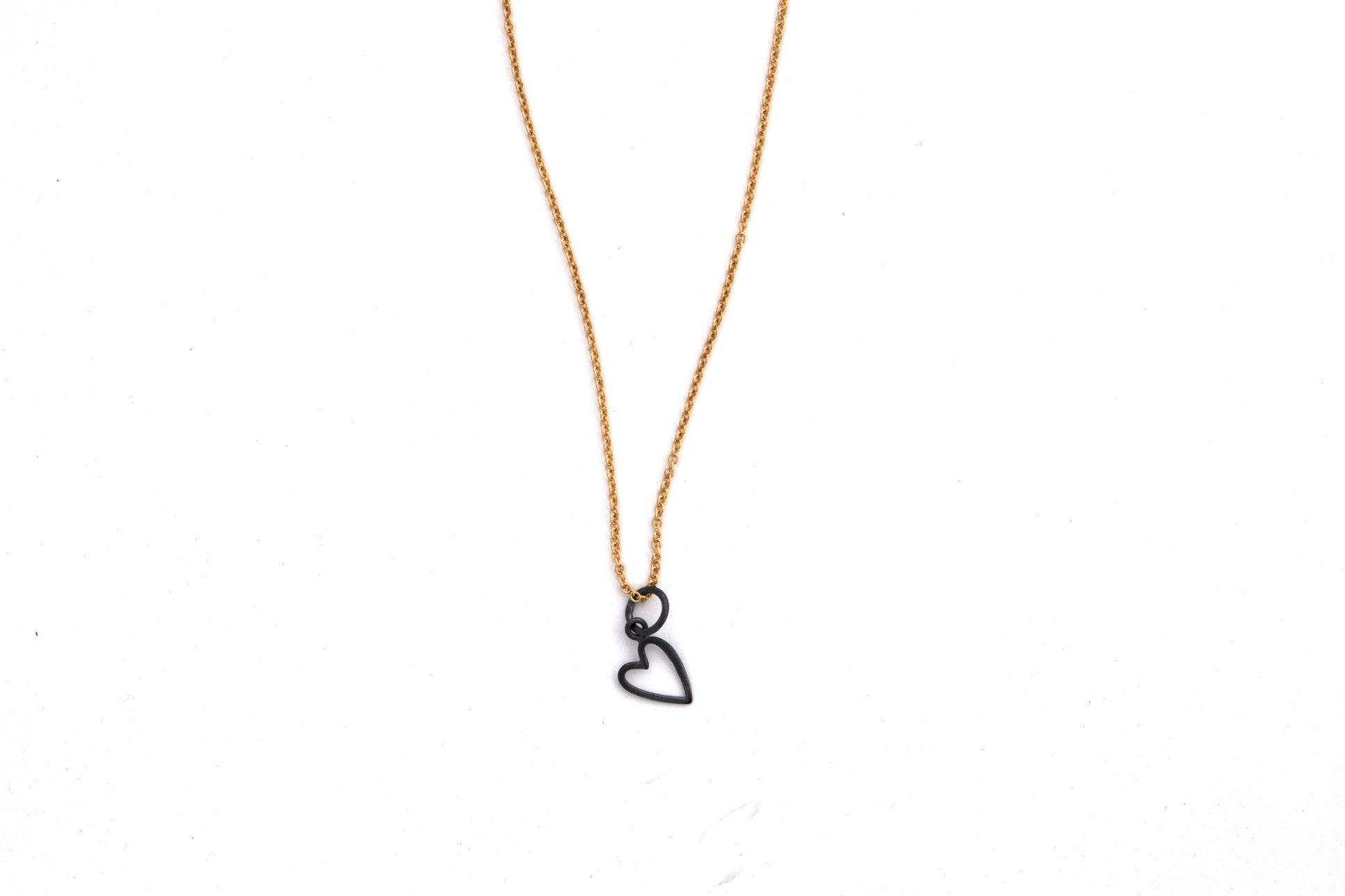 necklace / silver tiny OPEN HEART charm + gold filled fine chain