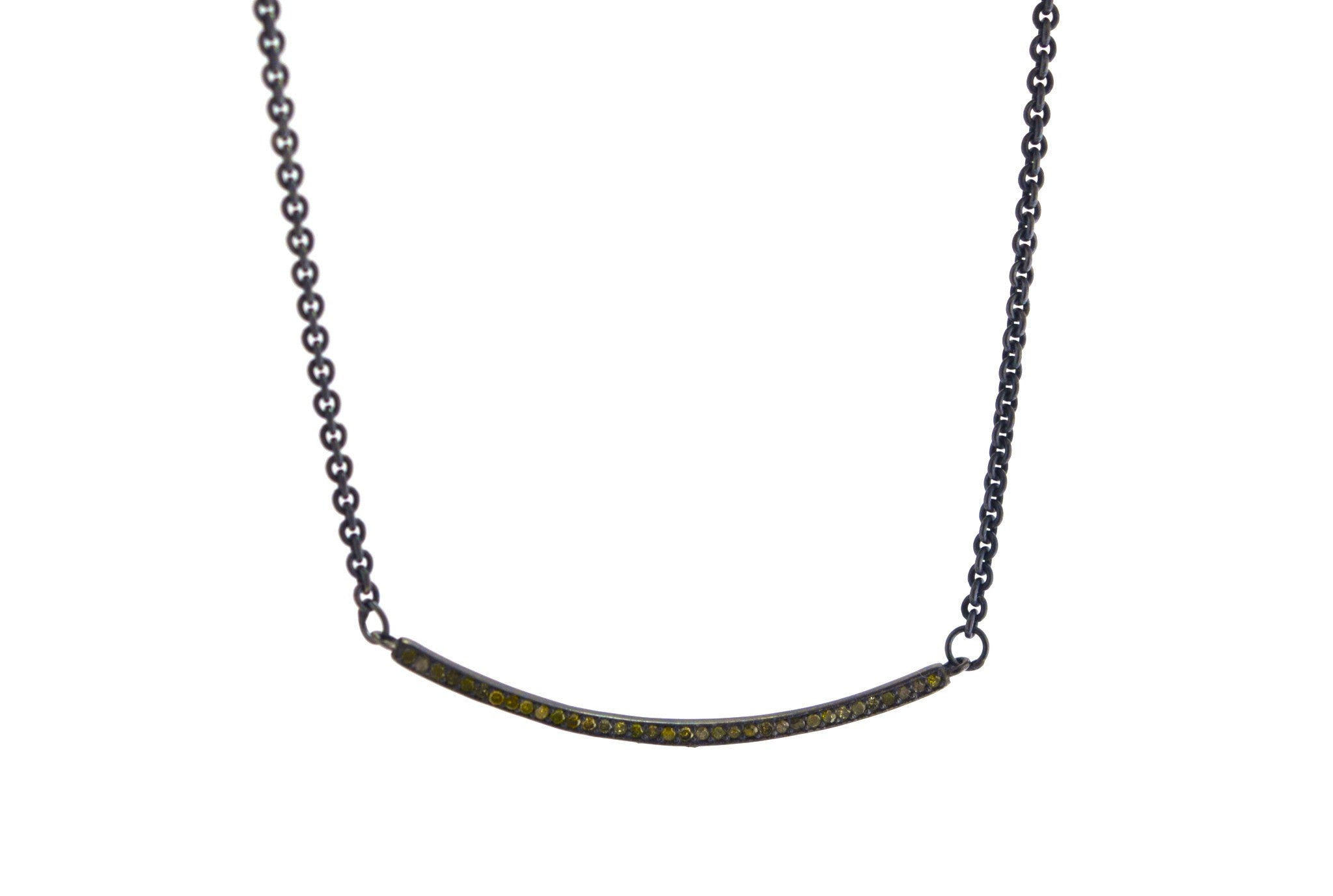 necklace / silver + diamond rose cut curved bar necklace