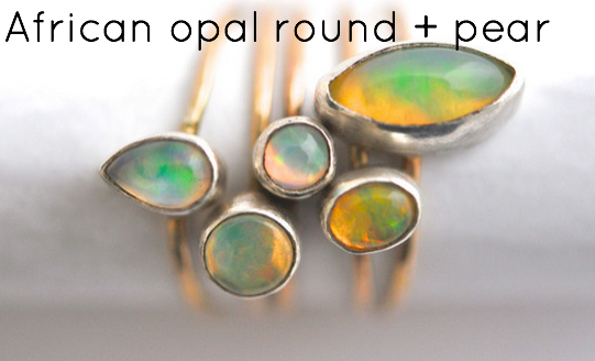 African opal stacking rings